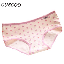 QUECOO 2017 new 3D cute little daisy sexy underwear cotton comfortable women's underwear Pants free shipping #130