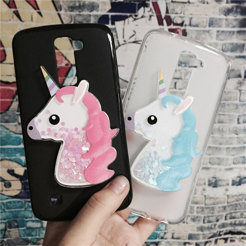 3D Unicorn Quicksand Liquid Soft Silicone Case LG Spirit 4G LTE H440Y H440N H440 H420 C70 Phone Cover Cartoon Diamond Funda