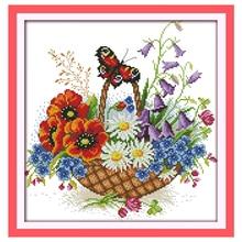 Цветочная корзина и бабочка Счетный крест вышивки крестом 11CT 14CT вышивки крестом Наборы Вышивка для Домашний декор рукоделие(China)