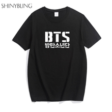 New Arrival 2018 Summer Men Women Unisex BTS Korean Street Fashion T Shirt Band Plus Size Cotton Punk Rock Basic Shirt for lady(China)