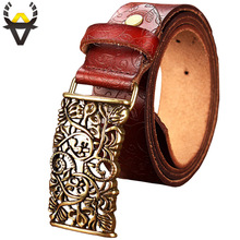 New Fashion Cow Genuine leather belt woman Vintage floral metal buckle Wide belts for women Top quality strap for female jeans(China)