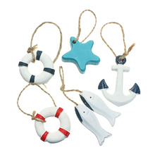 Cute Mediterranean Style Nautical Resin Wood Fish Star Swim Ring Wall Ornament Crafts Boat Ship Hang Beach Small Pendant Decor