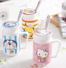 Hello Kitty Doraemon Minion Home Office Ceramic 450ML Coffee Milk Tea Mug Cup With Lid Spoon