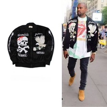 japan style hip hop clothing men clothes fleece coats kanye west skull embroidery Sukajan velvet ma1 bomber souvenir jacket