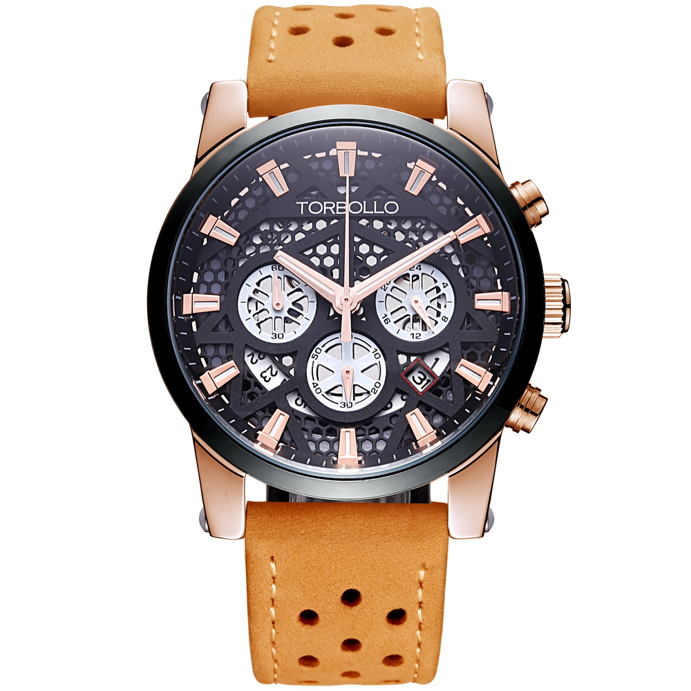 High Quality Original Brand Leather Dress Mens Watch Men Gold Black Chronograph Hours Water Resistant<br>