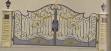 Shanghai Henchuang Industry wrought iron gate forged iron gates villa wrought iron gates steel metal iron gate(China)