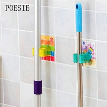 1pc Multifunctional Traceless Sucker Hook Mop Holder Wall Mounted Kitchen Bathroom Suction Cup Rag/Broom/Mop Rack Storage Holder(China)