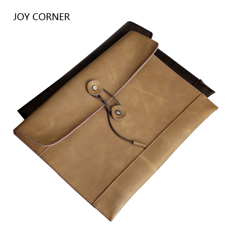 Elastic Closure Folder Hold A 4 Documents Files Genuine Cowhide Leather First-Class Manager Document Bag JOY CORNER STORE 2018<br>