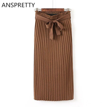 Anspretty Apparel 2016 Knitted Pleated Skirt Women Fashion Four Color Ladies Medium-Long Knitting Sash Skirts