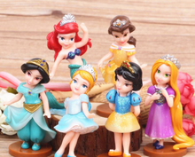 Factory Price 10cm  6pcs/lot Princess Snow White Bella Cinderella Princess Mermaid PVC Figure Toys Doll For Girl