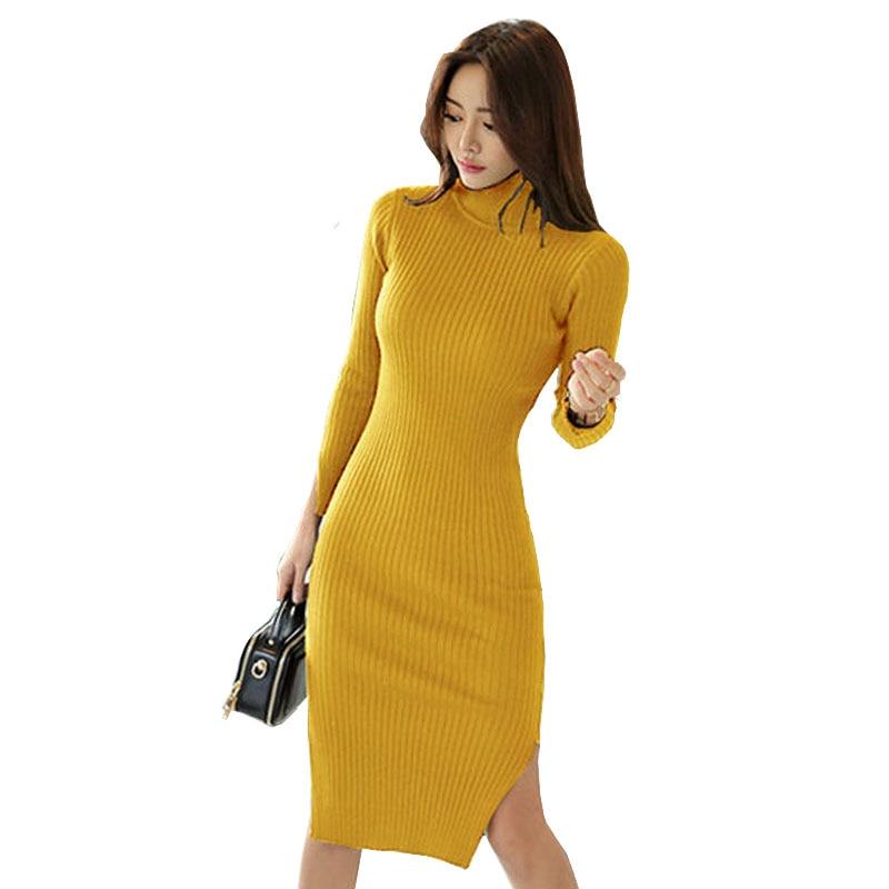 Korean Women Long Sleeve Turtleneck Sweater Dress Mustard Double Split Bodycon Knitted Dress Warm Knee-Length Winter Dress RobeÎäåæäà è àêñåññóàðû<br><br>