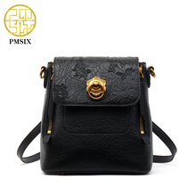 PMSIX 2017 Floral Embossed Genuine Leather Backpack Luxury Designer Small Backpack Double Zip Real Leather Multi Function Bag
