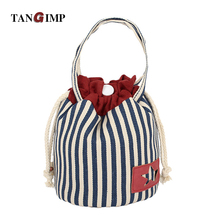 TANGIMP 2016 Vertical Stripes Cotton Canvas Drawstring Handbags Tote Simple Coin Purse for Gift Wristlets Bags Original
