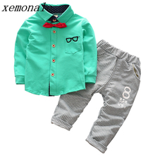 Toddler Tracksuit Cotton Outfits Children Boy Clothing Set Full Sleeve Glasses Printed Shirt With Necktie And Striped Pants 2Pcs