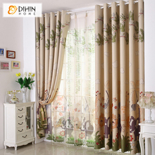Cortina Woven Curtains for Child Real Curtain Small Short Piaochuang Girl Boy Full Shade for Children Room free Shipping