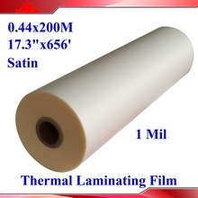 "Satin Matt 1"" Core 1 Rolls 28Mic 440mmx200M 1Mil Hot Laminating Films Bopp for Hot Roll Laminator(China)"