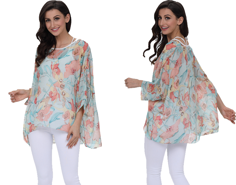 BHflutter 18 Women Tops and Blouses Plus Size Floral Print Casual Chiffon Blouse Boho Style Batwing Sleeve Summer Shirt Blusas 22