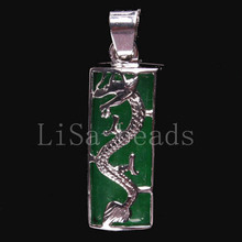 New Free Shipping Fashion Jewelry 10X25MM Dragon Natural Green Jade Pendant 1Pcs K089