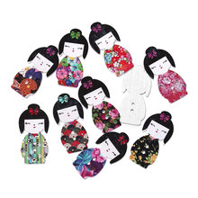 "DoreenBeads Wood Sewing Button Scrapbooking Girl Mixed Two Holes 30.0mm(1 1/8"") x 15.0mm( 5/8""), 7 PCs 2015 new(China)"