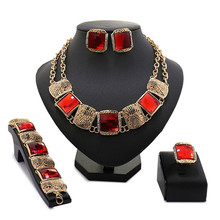 2017 New Fashion Unique Antique Jewelry Gold -color  Necklace Set Black Crystal And Red Resin Jewellery Sets For Women