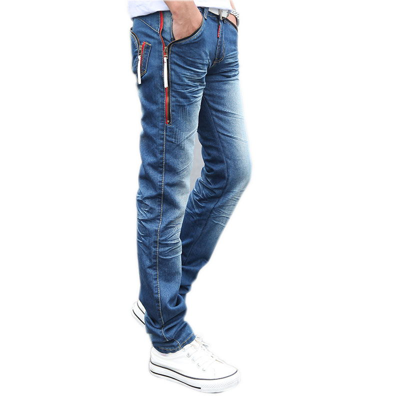 2017 spring male Zipper pockets blue jeans mens clothing trend slim small trousers male casual pencil pants Large size 27-38Одежда и ак�е��уары<br><br><br>Aliexpress