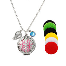 Hot Steel Essential Oil Diffusing Necklace Perfume Locket Pendant Jewe lry(China)