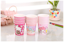 Sanrio 10pcs/bag  Hello Kitty 205ml paper cup  disposable paper cup home office green tea cup one time use for party supplies