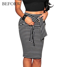 BEFORW Brand Skirts Womens Fashion High Waist Stripe Lacing Skirt Big Size White And Black Sexy Bodycon Long Skirt For Women(China)