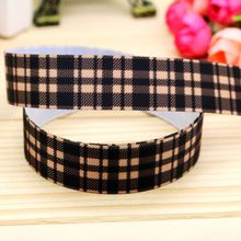 7/8'' Free shipping plaid printed grosgrain ribbon hairbow headwear party decoration diy wholesale OEM 22mm P5573
