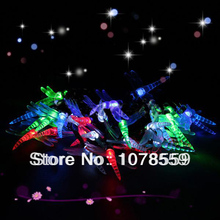 Solar Power 30 LED Dragonfly Shape Outdoor Garden Yard Snowflake Pompons String Light Xmas Party Lamp free shpping(China)