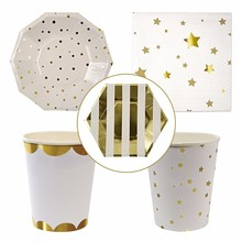 8Pcs/Set Gold Foil Star Disposable Tableware Party Paper Plates Cups Baby Shower Favor Birthday Party Paper Napkins Tableware