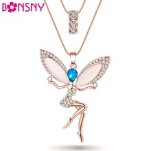 Buy Bonsny Angel Fairy necklace Opal Pendant Cat Eye Crystal Chain New Zinc Alloy Girl Women Fashion Jewelry Accessories for $4.67 in AliExpress store