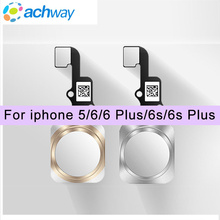 100% Test For iphone 5 5S 6 6 Plus 6S 6S Plus 7 7Plus 8 Home Button Key with Flex Cable Assembly Repair Parts 4 Black White Gold(China)