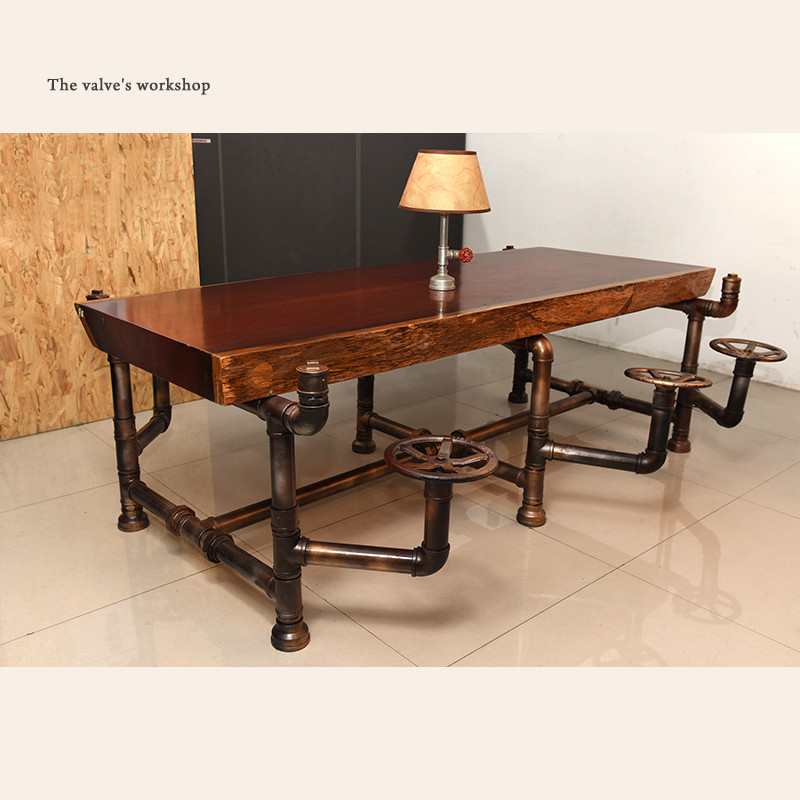 American Industrial Pipe Office Furniture Golden Years Series Creative Pipeline Solid Wood Table Boss Table Office Desk -J001(China)