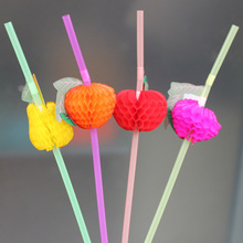 50PCS/Lot 3D Fruit Cocktail Paper Straws Umbrella Drinking Straws Party Decoration Color Assorted E273