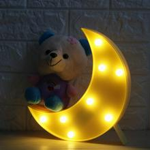 8 LEDs Crescent Moon Shaped Marquee Sign Light LED Lamp Night Light Battery Operated for Christmas Home Wedding Party Decoration
