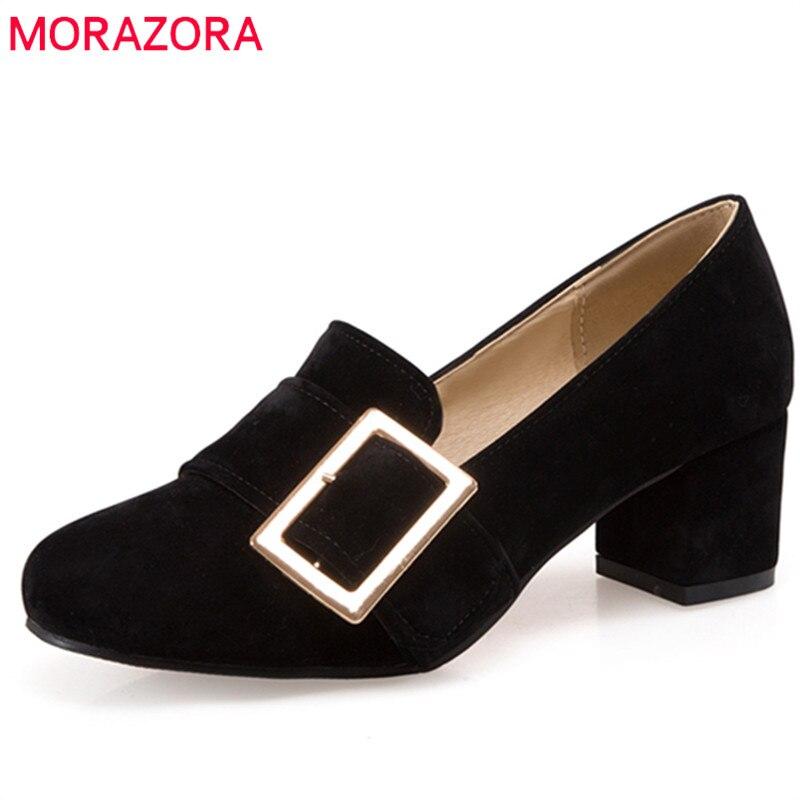 MORAZORA Large size 34-47 shoes women hot sale pumps round toe four seasons single shoes pu square heels work shoes<br>