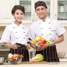 (5 get 15% off, 10 get apron for free)man/woman chef wear uniform black/white short sleeve restaurant hotel kitchen coverall