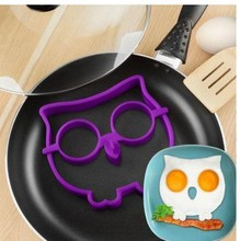 1pcs Side Up Owl Silicone Omelette Shaper Fried Frying Mold Pancake Egg Ring Kitchen Cooking Tool Color Random