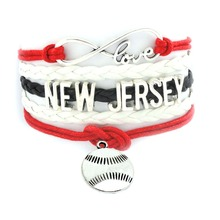 (24 Pieces/lot) Charms Sport Jewelry Handcraft Infinity Love New Jersey Rugby Team Bracelet(China)