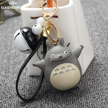 Chaveiro llavero Toys Doll My Neighbor Totoro Keychain Leather Rope Bells Key Rings Women Car Bag Charms Key Holder Porte Clef
