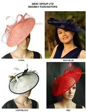 New color. BIG sinamay hat fascinator w/feathers,veiling,sequin for races,wedding,kentucky derby.royal,coral,red,black.