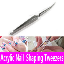 Acrylic Nail Shaping Tweezers Stainless Steel Multi-Function Nail Clip Manicure Tool Tweezers for UV Gel C Curve China Pinchers