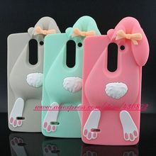 Hot 3D Silicon Rabbit Bunny Cute Cartoon Soft Cell Phone Back Skin Cover for LG G3 Stylus D690 Case