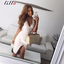 Nightclub sexy dress White V neck halter open halter dress bandage High open fork solid color Irregular dress party dress summer(China)
