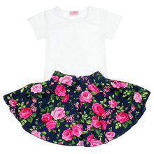 1-6T Sweet Baby Girls Kids Floral Flower Summer Dress Toddler T shirt + Flower Skirt 2Pcs