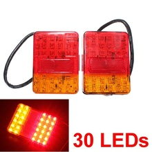Best Price Auto Parts A Pair 12V 30 LEDs Taillight Truck Lamp Rear Tail Trailer Lights E-Marked Warning Lights