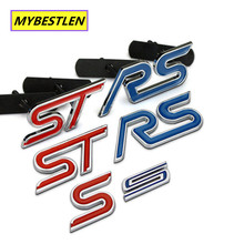 Blue Red Chrome Metal S RS ST Car Grille Styling Emblem Badge 3D Car Sticker Refitting Decal for FORD Focus Mondeo Accessory(China)