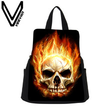 VEEVANV Brand 2017 Fire Skull Image Women Shopping Backpack New Canvas School Bags Female Fire Skull Prints Drawstring Backpacks