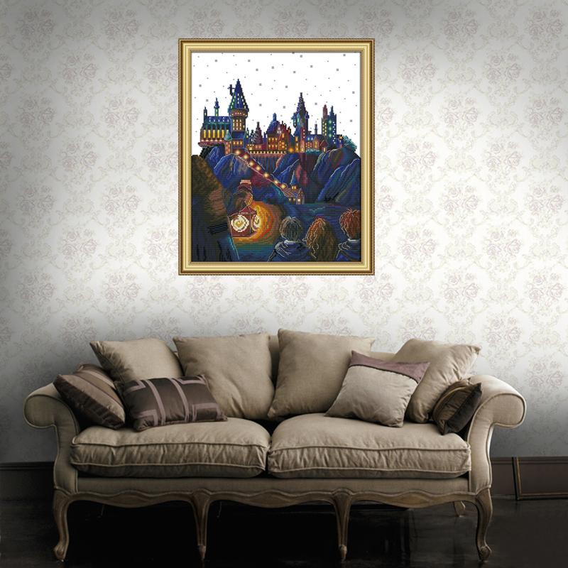 Magic Castle Stamped Cross Stitch Kits Magic Castle14Count 34cmx42cm DIY Needle Work for Home Decor